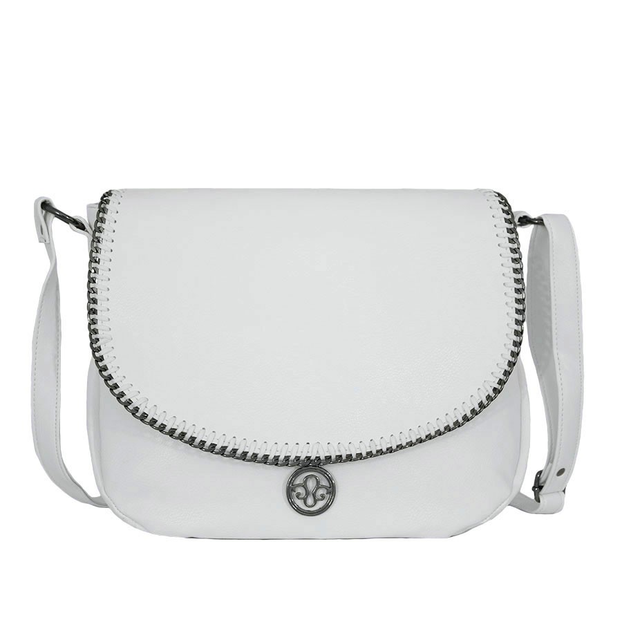 българска дамска чанта през рамо B5282Z бяла кожа