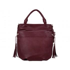 Българска дамска чанта тип торба g51270b цвят бордо
