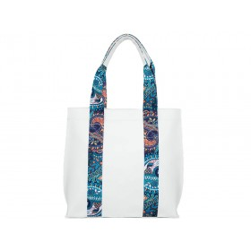 българска дамска чанта B52640Z бяла с цветни детайли