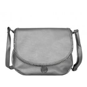 българска чанта през рамо B53-53Z сребрист цвят