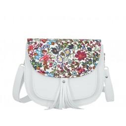 бяла дамска чанта през рамо B5293Z с цветен капак