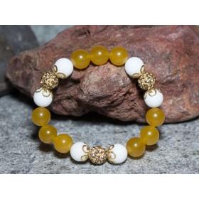 Гривна от естествени камъни жадеит и ахат MP001 бял и жълт цвят