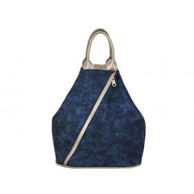 Дамска раница b51520b син цвят със златисти детайли