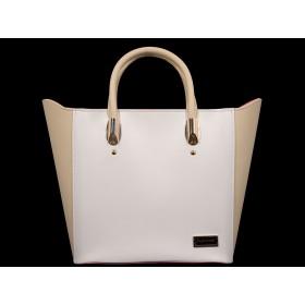 дамска чанта бежов и бял цвят BG0024
