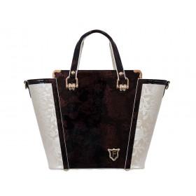 дамска чанта бежов цвят B035C и лак меланж