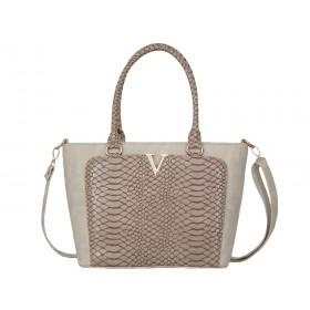 Дамска чанта бежов цвят B50360B имитация на лен с змийски мотиви