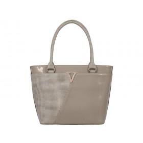 Дамска чанта бежов цвят bg4587g матиран лак и кожа на квадрати
