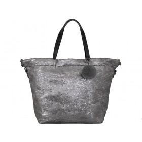 дамска чанта в черно и графитен металик 57y25