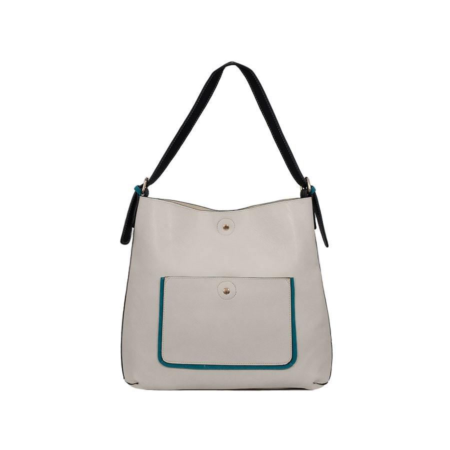 Дамска чанта две в едно през рамо бежов и черен цвят KK3629I