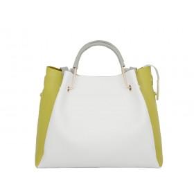 дамска чанта две в едно B5288Z в бяло и горчица