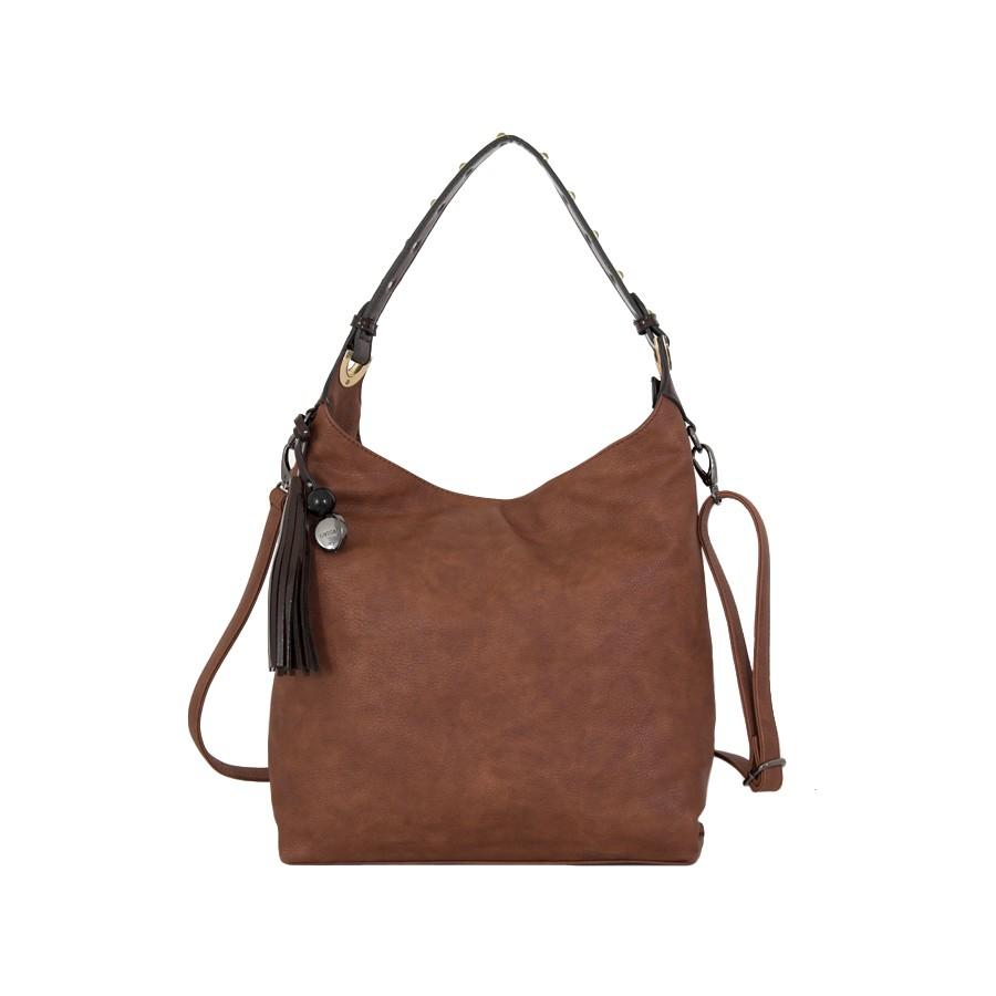 дамска чанта еко кожа и лак в кафяв цвят