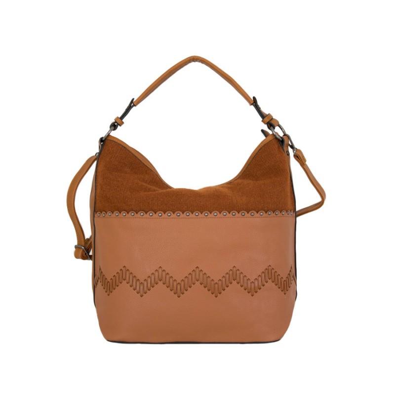 дамска чанта еко кожа и текстил керемиден цвят