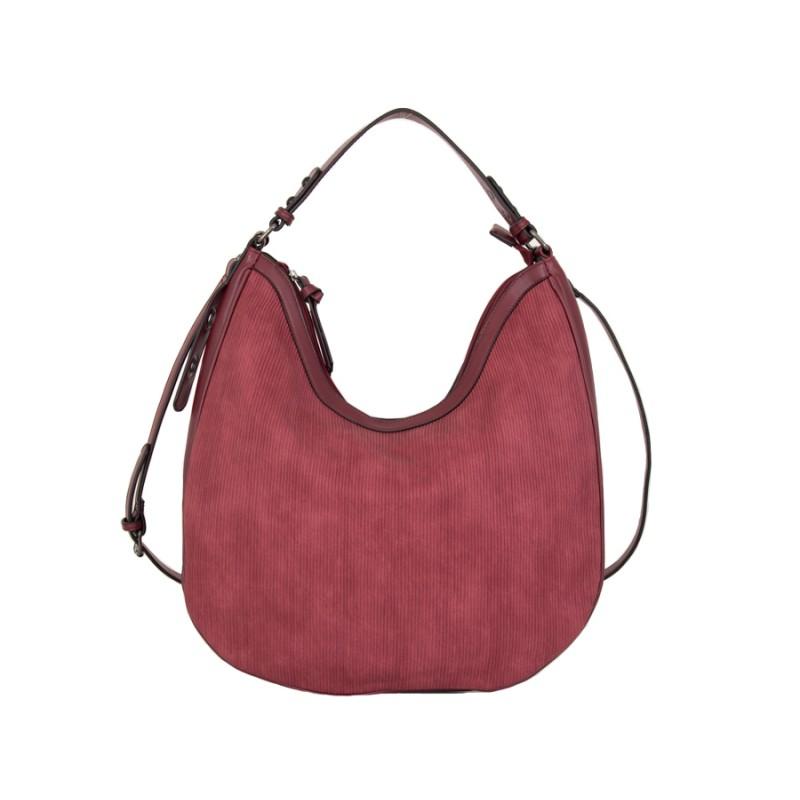 дамска чанта за рамо цвят червен към бордо