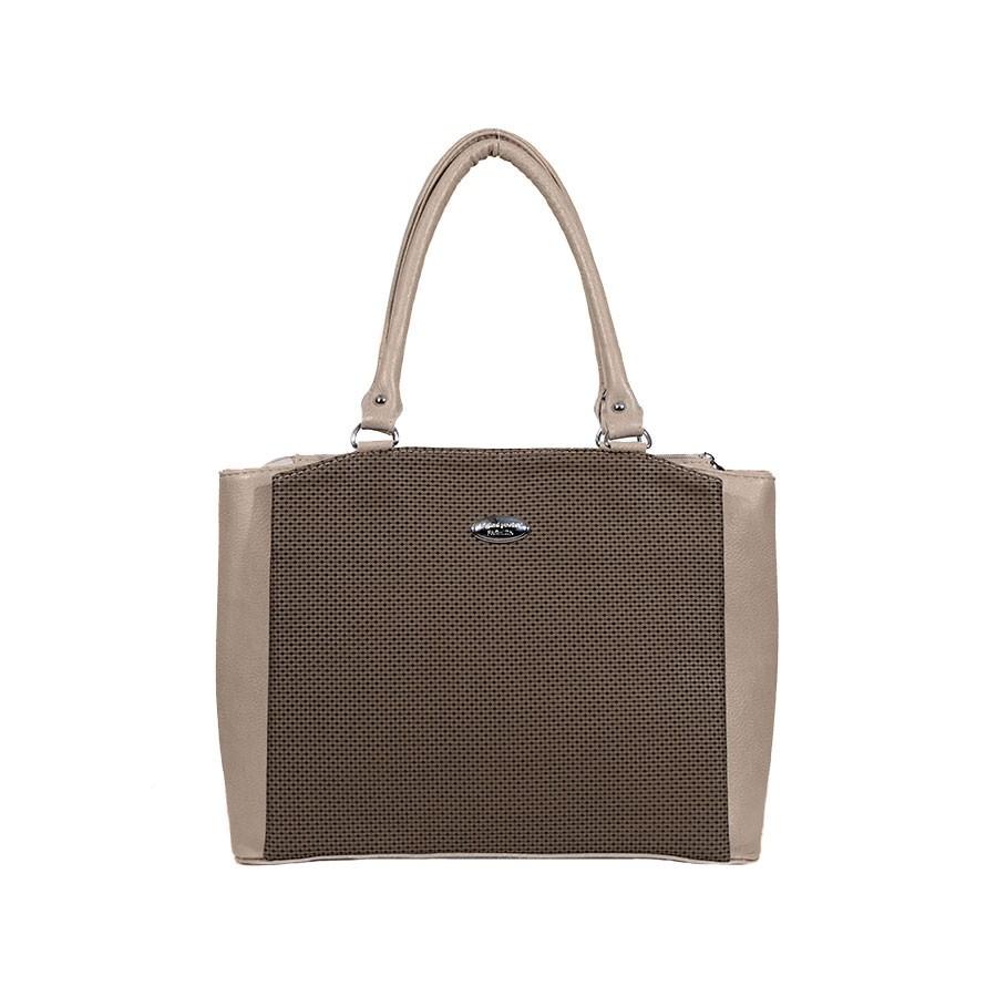 Дамска чанта кафява и бежова еко кожа b04263b