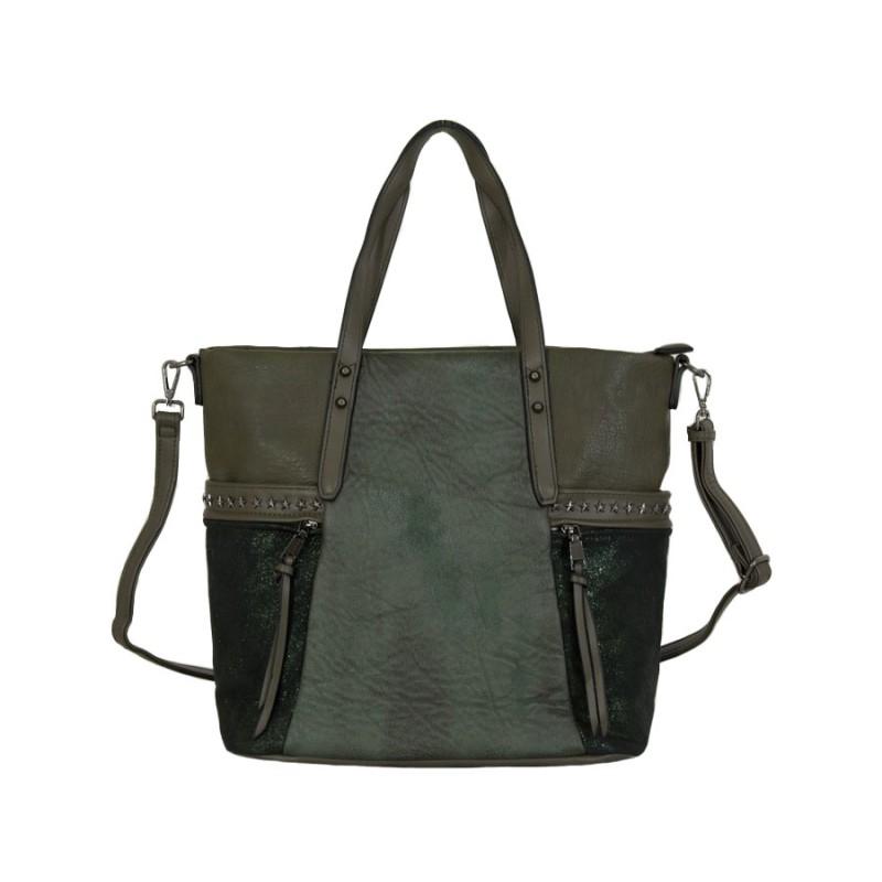 дамска чанта маслено зелен цвят