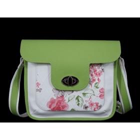 дамска чанта през рамо бял и зелен цвят -B0028DG