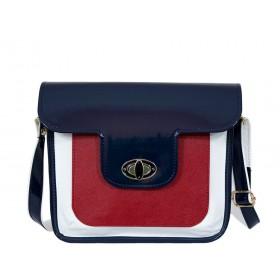 дамска чанта през рамо син, червен и бял цвят -B0028CG