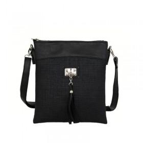 Дамска чанта през рамо тип преметка b05067g черен цвят