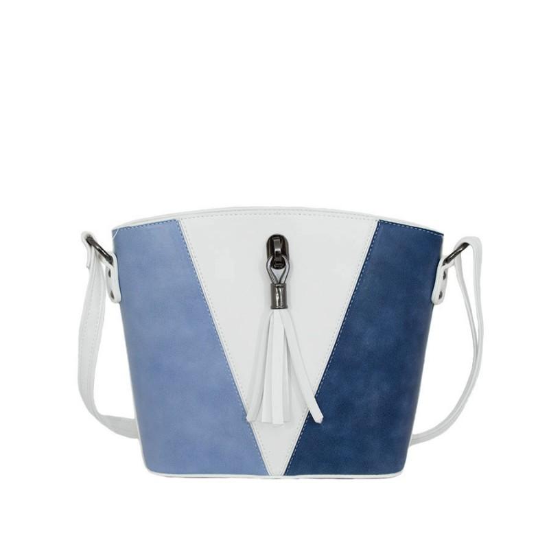 дамска чанта през рамо 05281G бял цвят със сини детайли