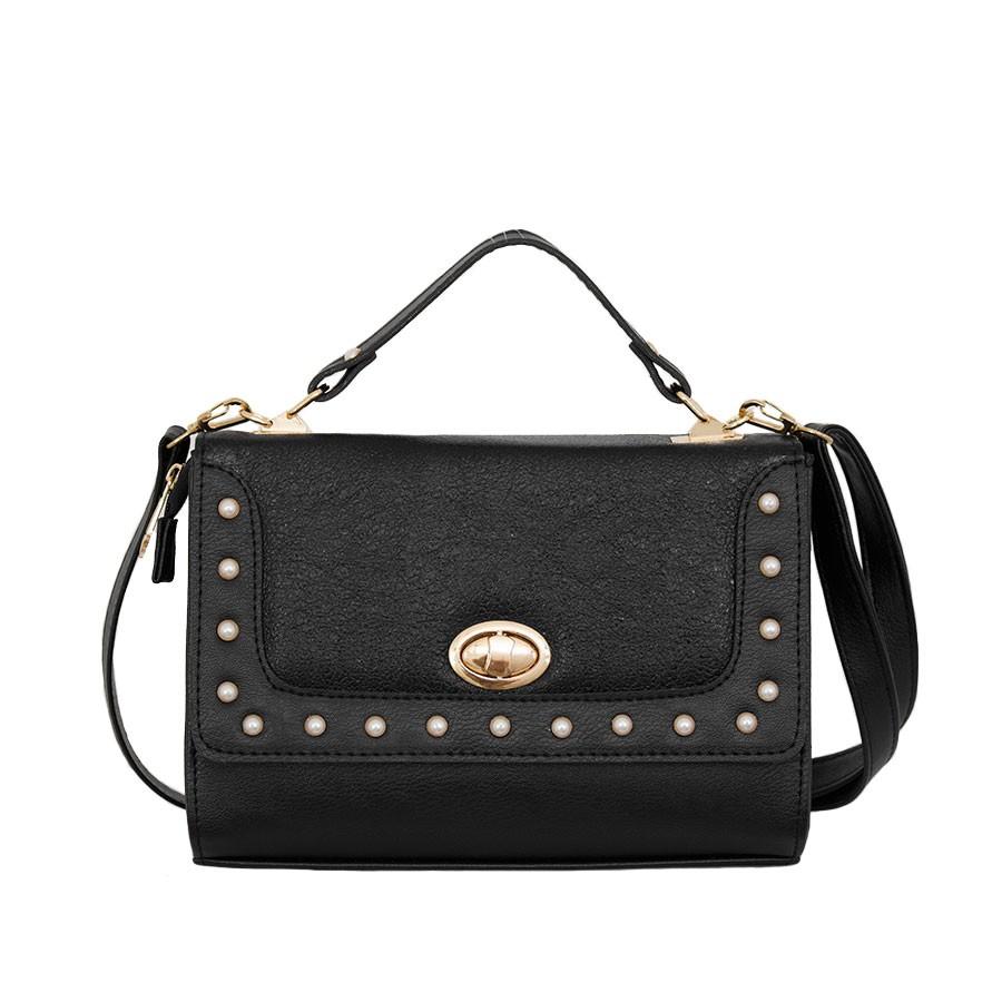 дамска чанта през рамо B05297Z черна еко кожа