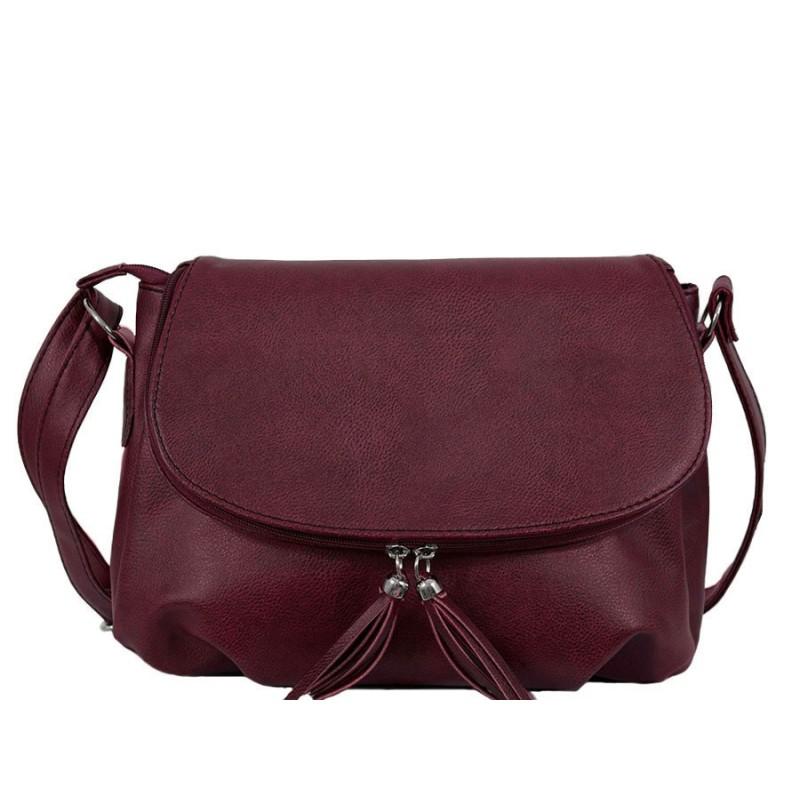 дамска чанта през рамо B54-93G цвят бордо