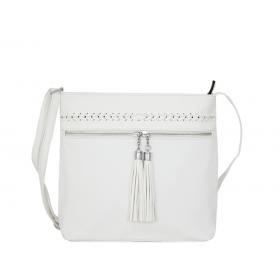 дамска чанта през рамо B55-01K бял цвят