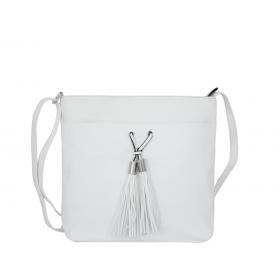 дамска чанта през рамо B55-02K бяла еко кожа