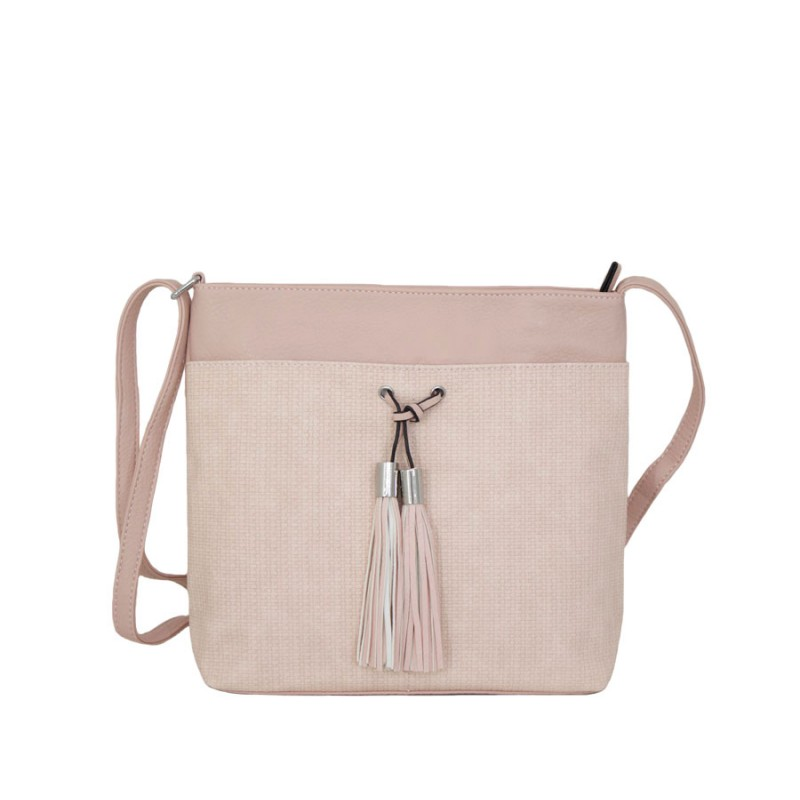 дамска чанта през рамо B55-03K цвят розова пудра