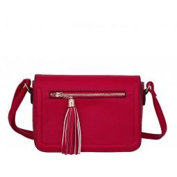 дамска чанта през рамо B55-14K червена с черни детайли