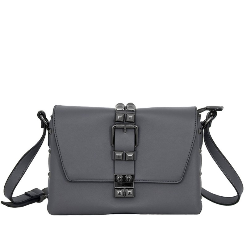 дамска чанта през рамо X53-87B сива еко кожа