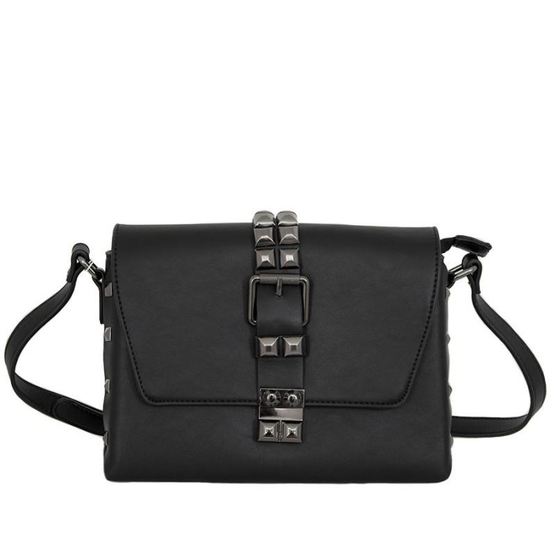 дамска чанта през рамо X53-88B черна с графитен обков