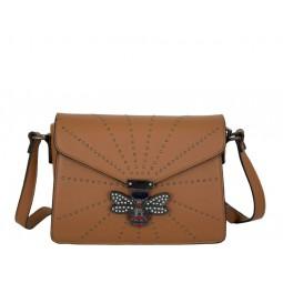 дамска чанта през рамо X54-63B камел с графитен обков