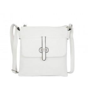 дамска чанта през рамо X55-64B бял цвят с черни детайли