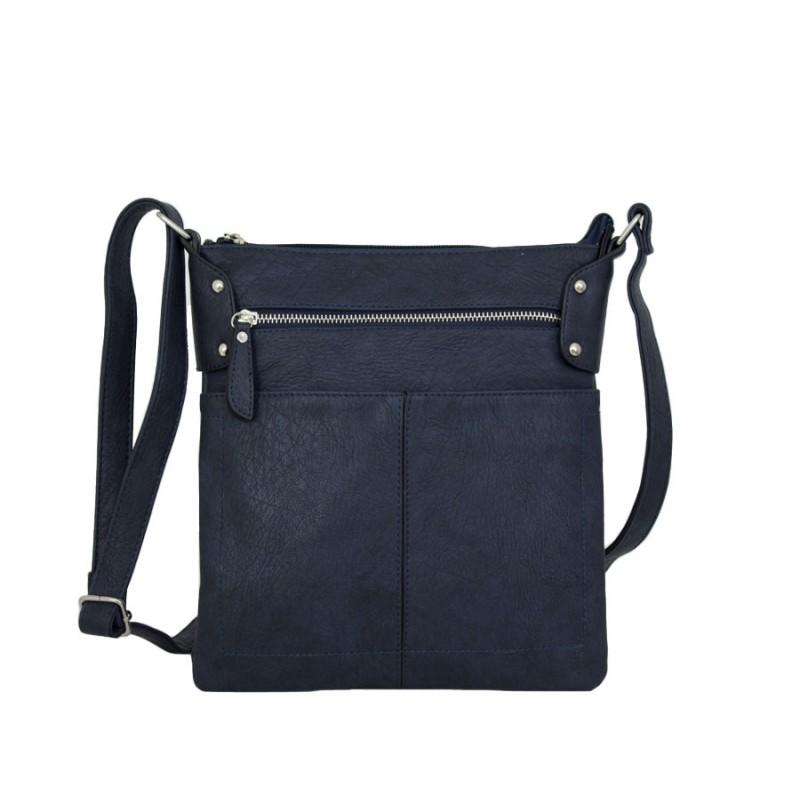дамска чанта през рамо X55-69B с три прегради в синьо