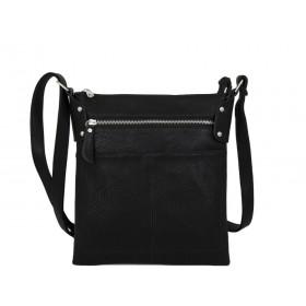 дамска чанта през рамо X55-75B с три прегради в черно
