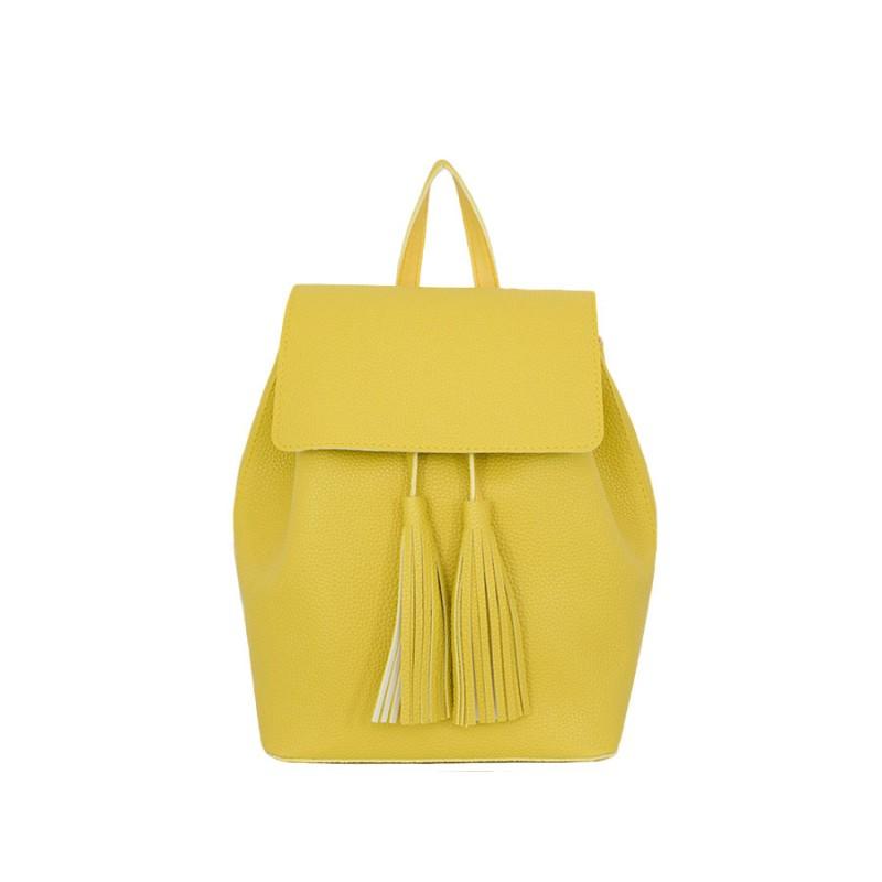Дамска чанта раница B5296G с капак в жълт цвят