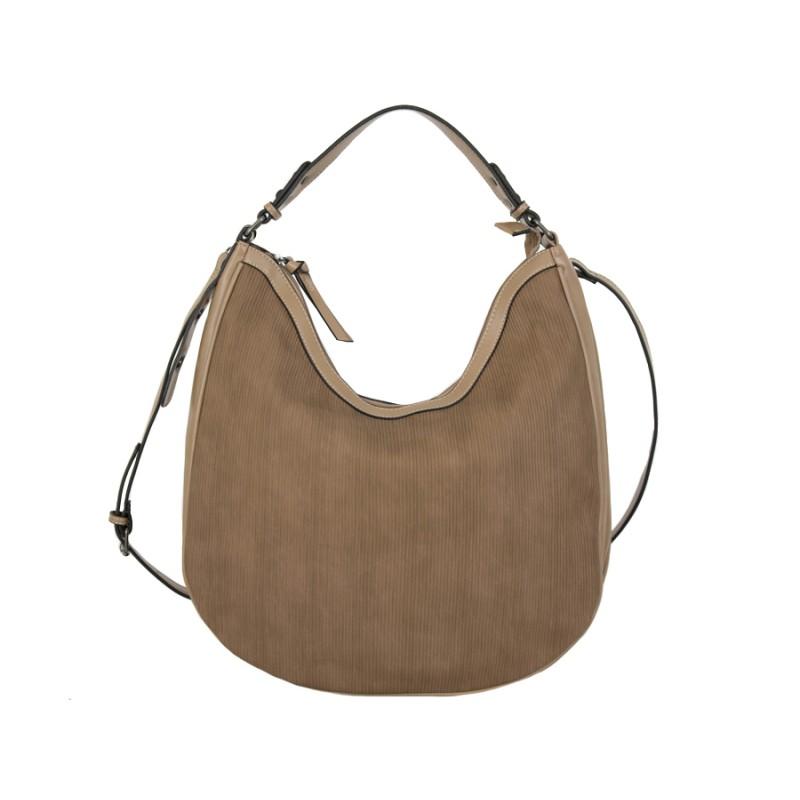 дамска чанта релефна кожа карамелено бежов цвят