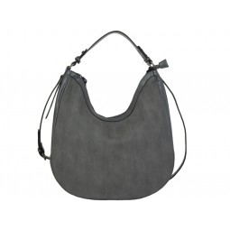 дамска чанта сив цвят с релефни елементи по кожата