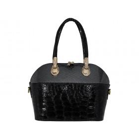 дамска чанта тип куфарче B4353B черен и сив лак