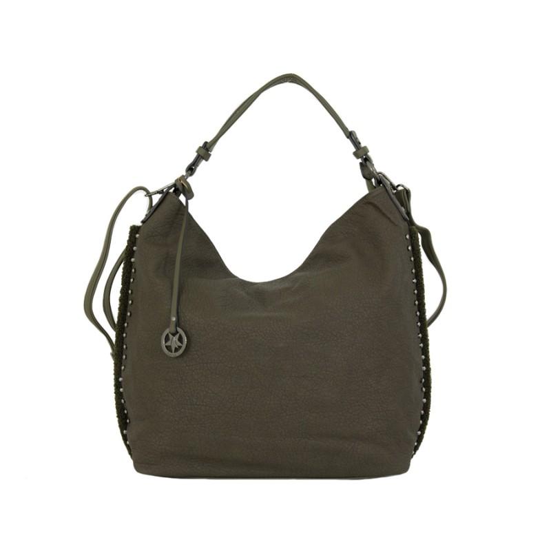 дамска чанта тип торба в тютюнево зелено