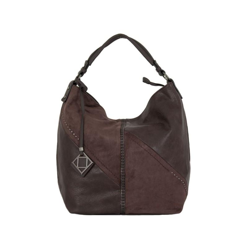 дамска чанта тип торба кафяв цвят