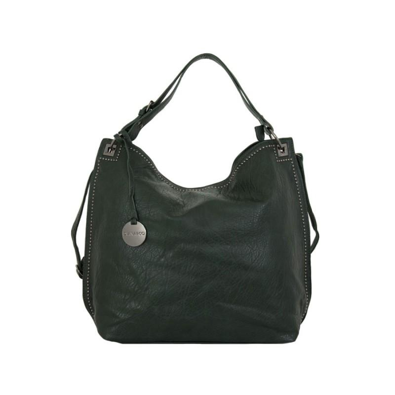 дамска чанта тип торба тъмно зелен цвят