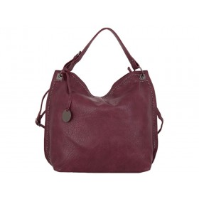 дамска чанта тип торба цвят бордо
