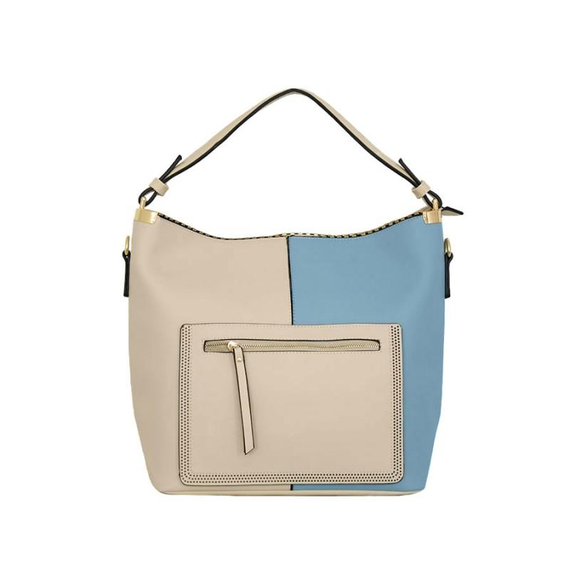 дамска чанта тип торба B52-60Z син и бежов цвят
