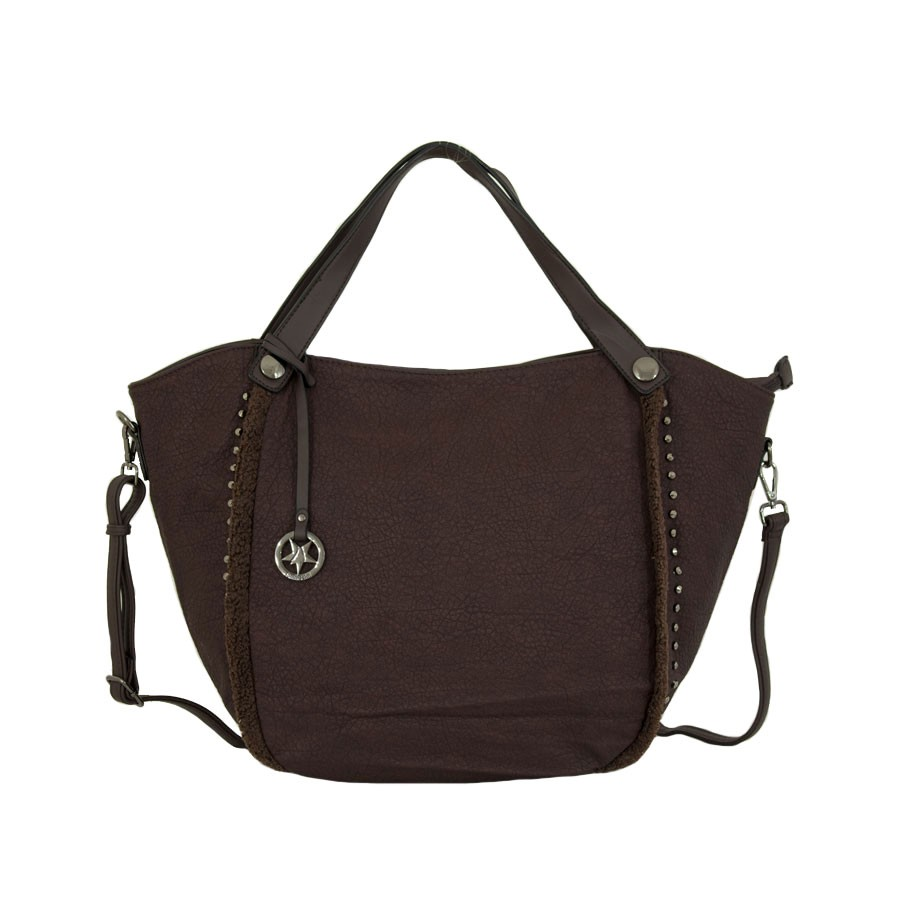 дамска чанта тъмно кафяв цвят