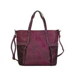 дамска чанта цвят вишнево червен с детайли от брокат