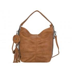 дамска чанта цвят камел със сребристи кантове