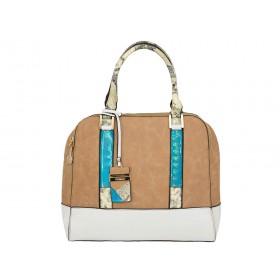 дамска чанта цвят капучино B52520Z с цветни детайли