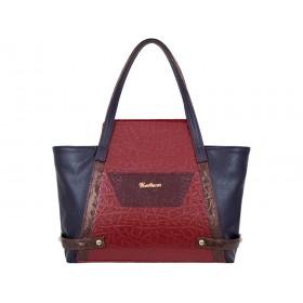дамска чанта червен , тъмно син и кафяв цвят CH034A