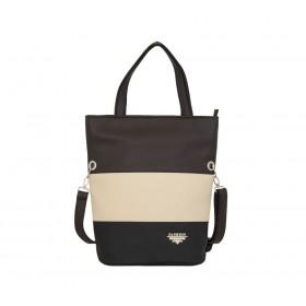 дамска чанта черен, бежов и кафяв цвят -BG019А